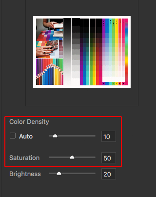 color density and saturation sliders in YRGBK3