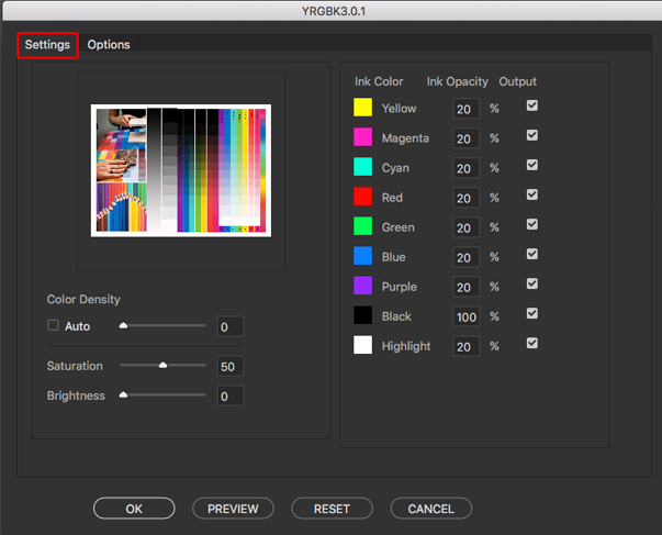 The YRGBK color separation script starts by displaying the Settings tab