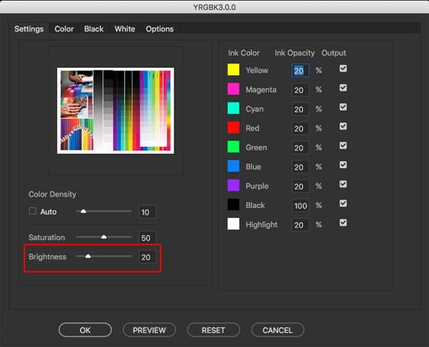 the slider to adjust the overall brightness of the final color separation