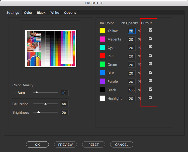 Checkboxes to determine if a color is output to the final color separation or preview
