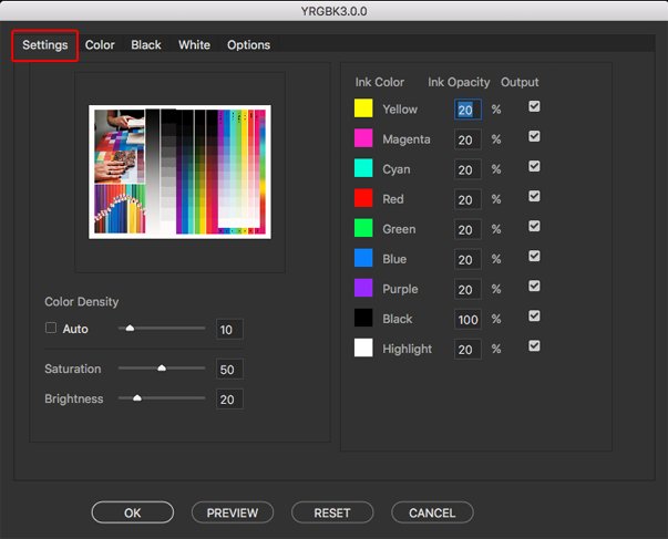 The main settings tab for the YRGBK color separation script